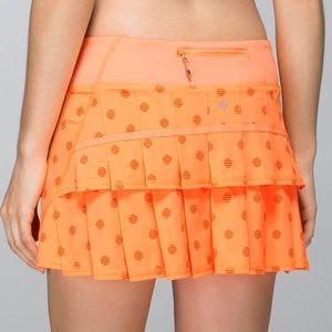 Lululemon | Pace Setter Skirt Stripe Dot Orange